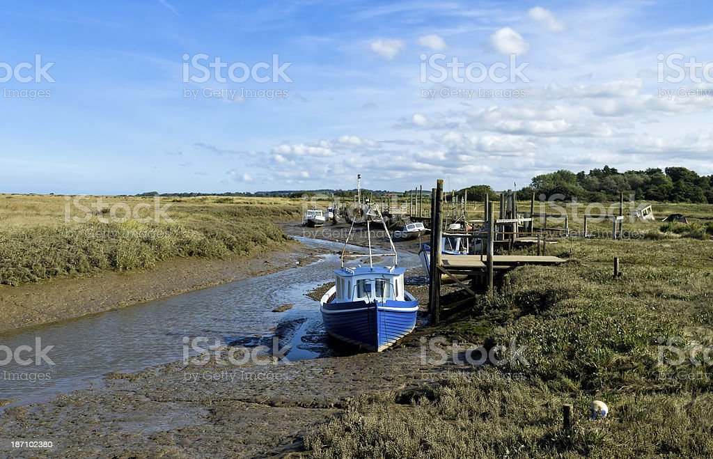 Moorings and landing stages at Thornham royalty-free stock photo