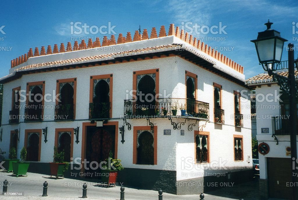 Moorish architecture in El Albayzin district, Granada, Andalusia stock photo