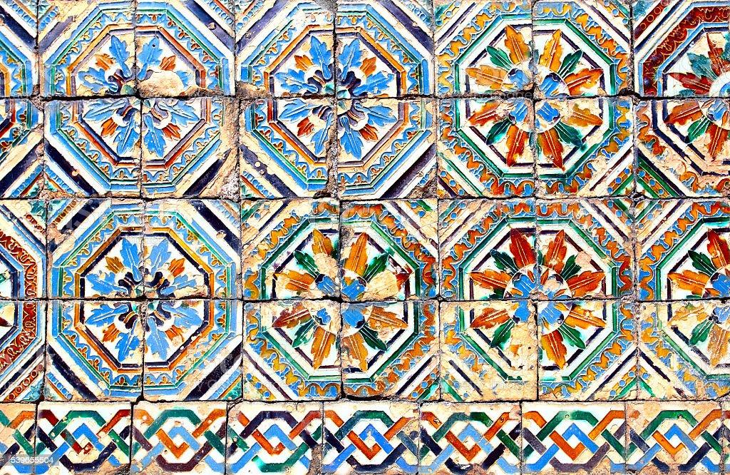 Moorish ceramic tiles stock photo