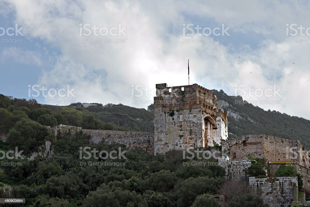 Moorish Fort On The Rock Of Gibraltar royalty-free stock photo