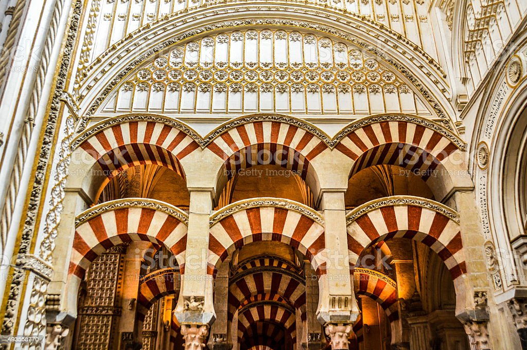 Moorish style arches within the Mezquita in Cordoba, Spain stock photo