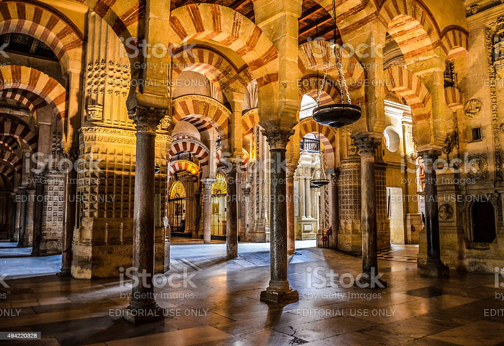 Moorish style arches within the Mezuita in Cordoba, Spain stock photo
