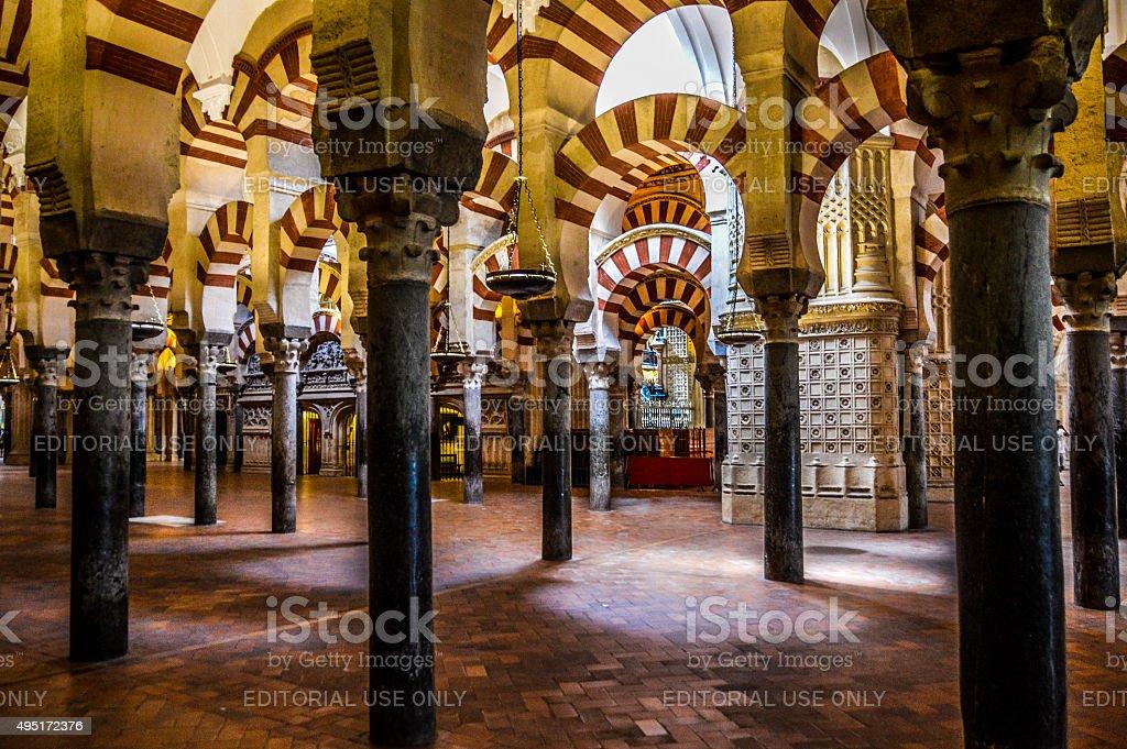 Moorish style arches within the Mezuita in Cordoba, Spain stock photo