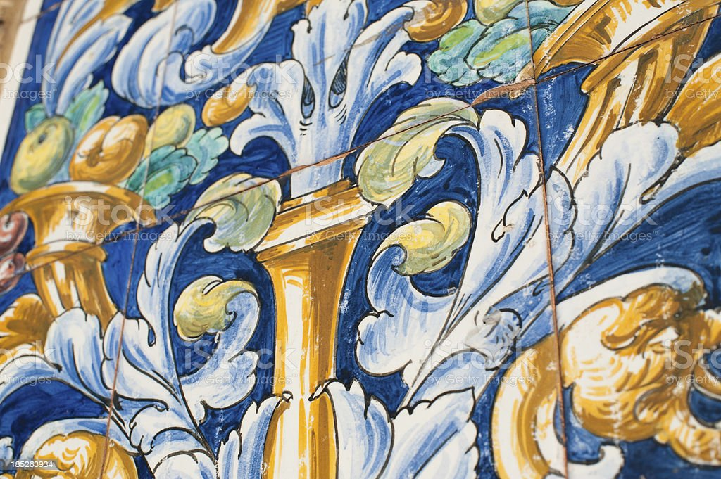 Moorish tiles with colorful paintings on them royalty-free stock photo