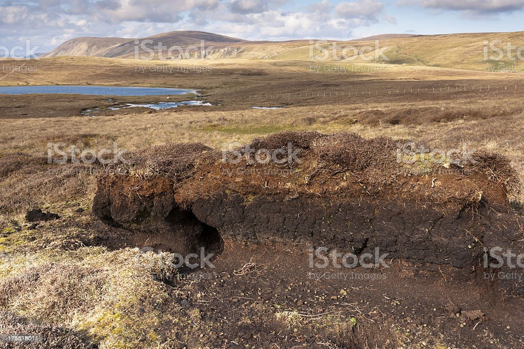 Moorland and peat bog on Shetland royalty-free stock photo