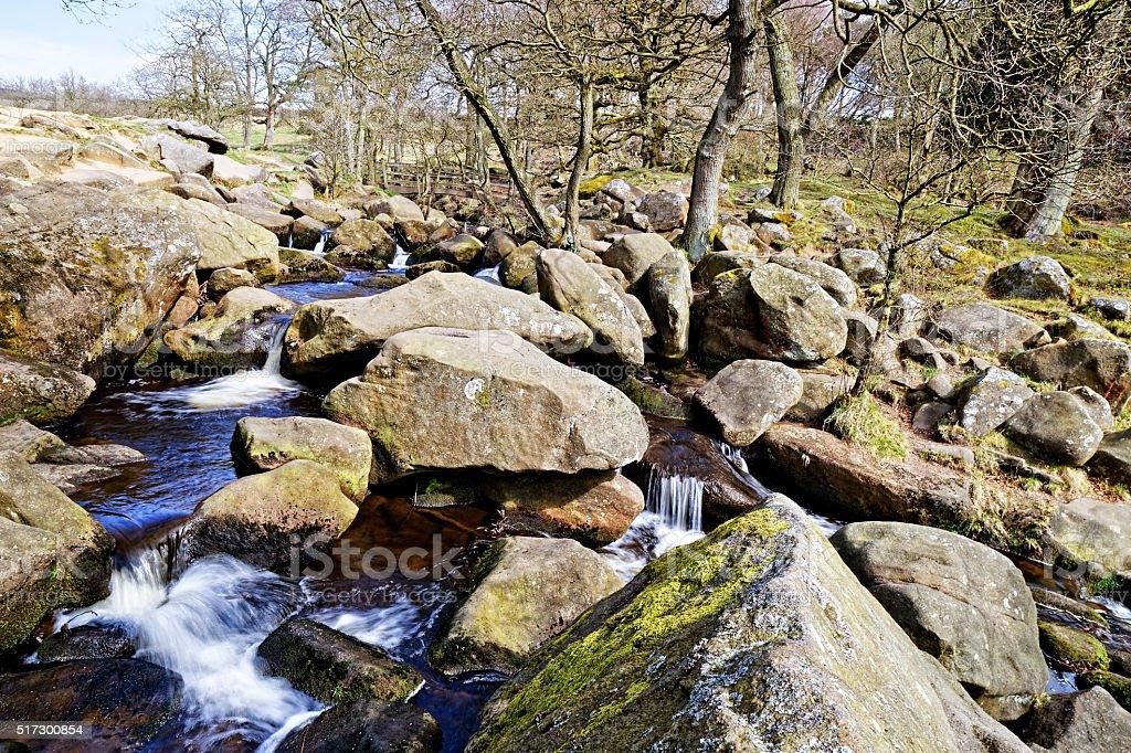 Moorland brook creates rock pools and waterfalls stock photo