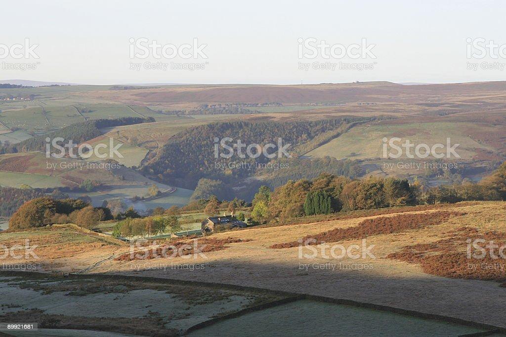 Moorland farm in the Peak District stock photo