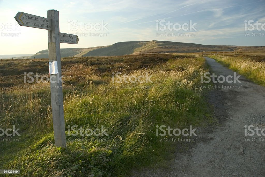 Moorland wooden signpost in grassy field royalty-free stock photo