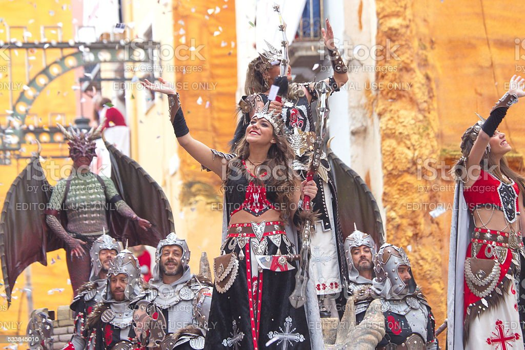 Moorss vs Cristians parade in Alcoy, Spain stock photo