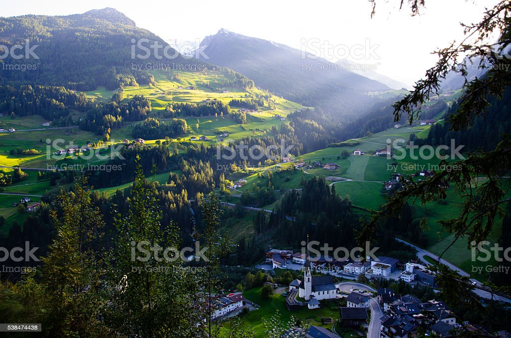 Moos in passeier in Autumn, Village in South Tyrol (Italy) stock photo