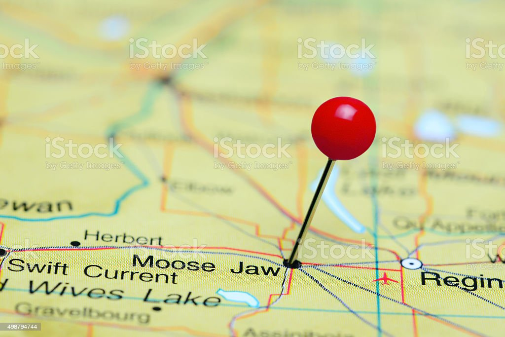 Moose Jaw pinned on a map of Canada stock photo