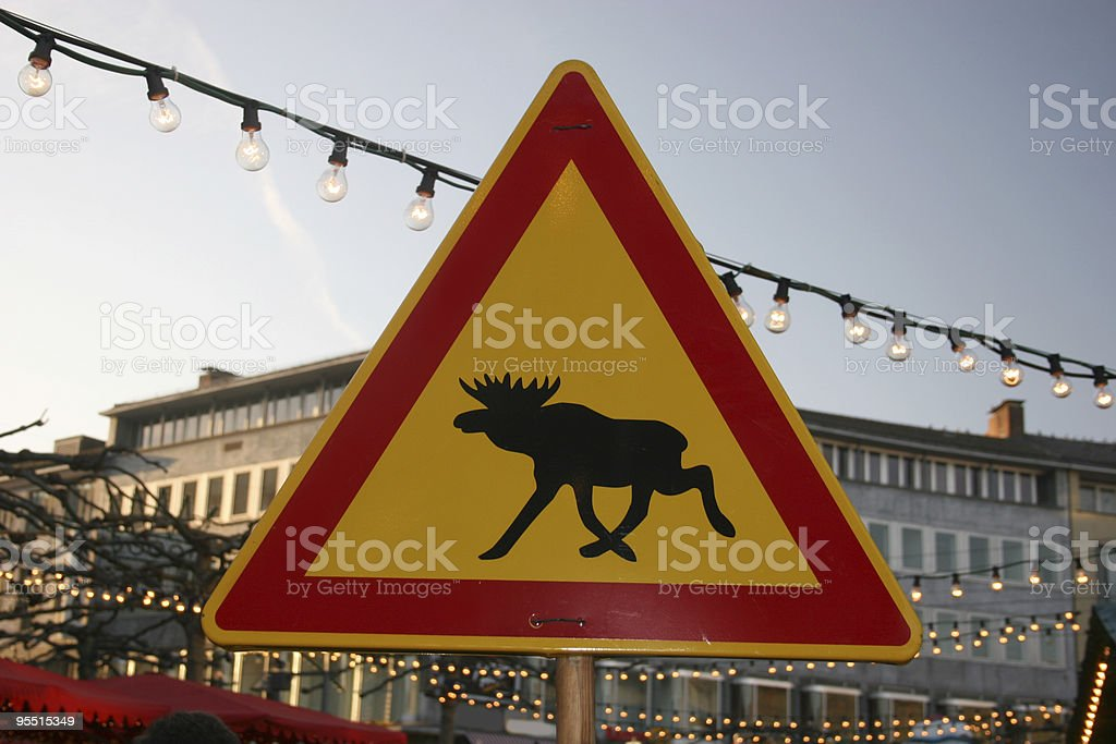 Moose sign at the christmas market in Kassel stock photo