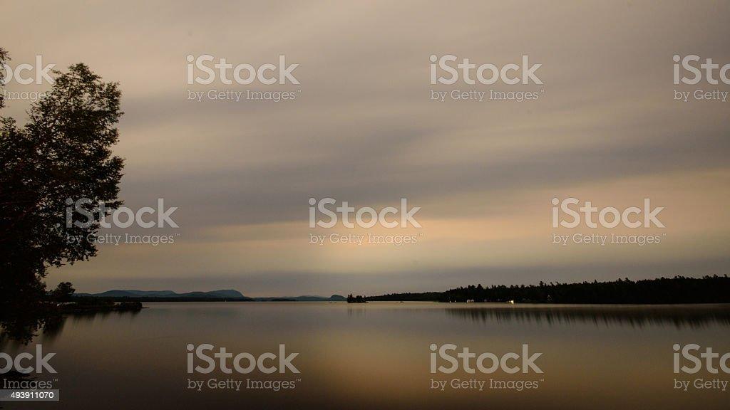Moosehead Lake Overcast Sundown Long Exposure stock photo
