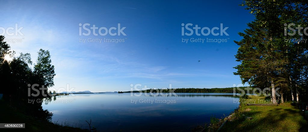Moosehead Lake Panorama Early Morning stock photo