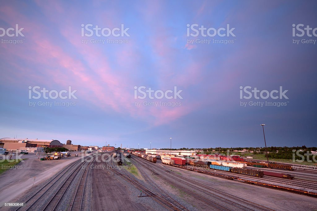 MooseJaw Saskatchewan Train Tracks stock photo