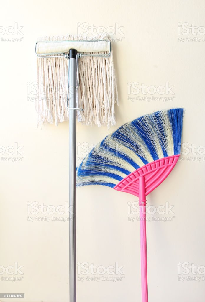 Mop and Sweeping. stock photo