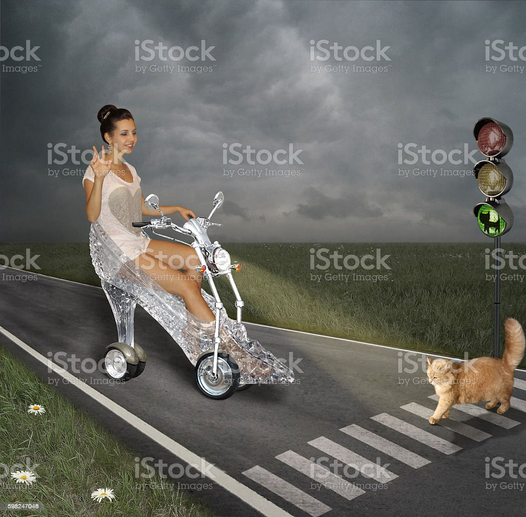 Moped and shoe. stock photo