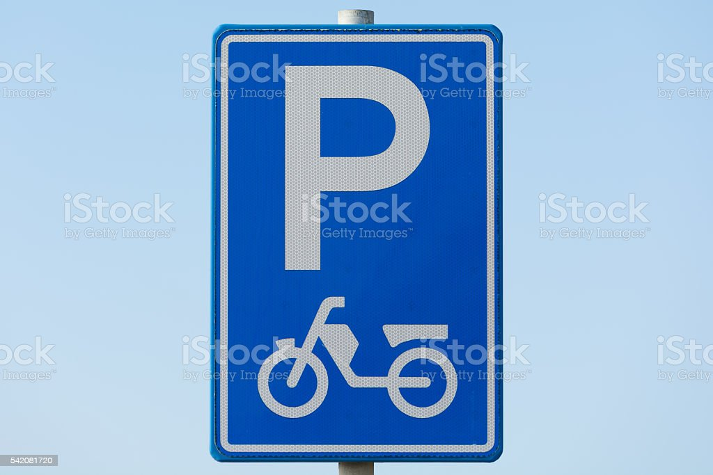 Moped parking sign stock photo