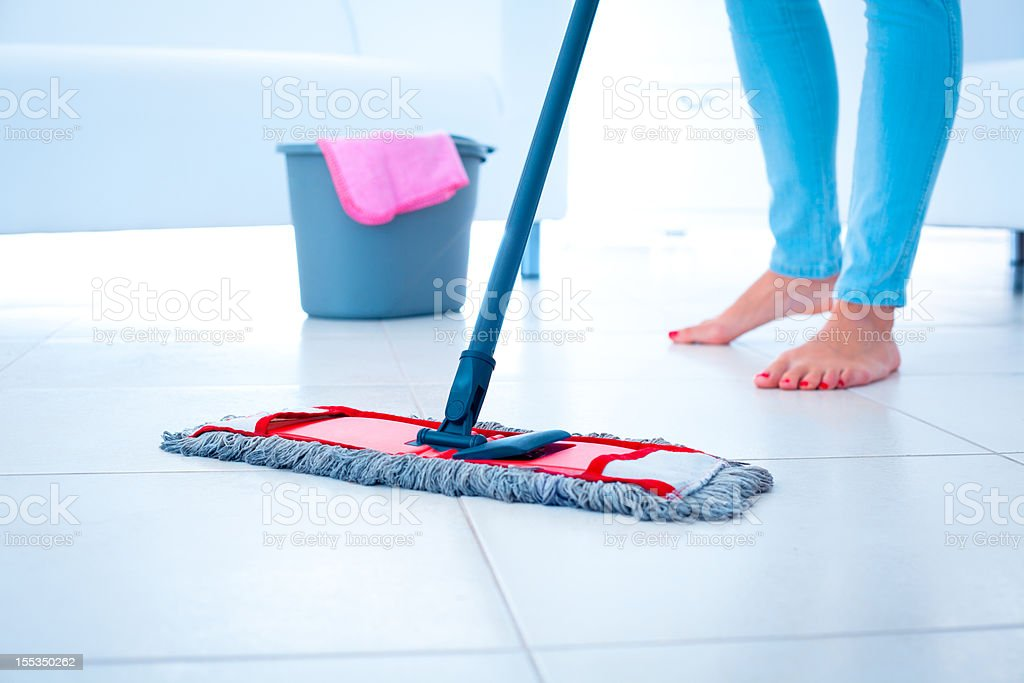 Mopping floor royalty-free stock photo