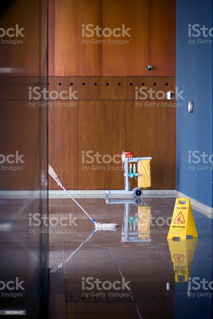 Mopping the floor stock photo
