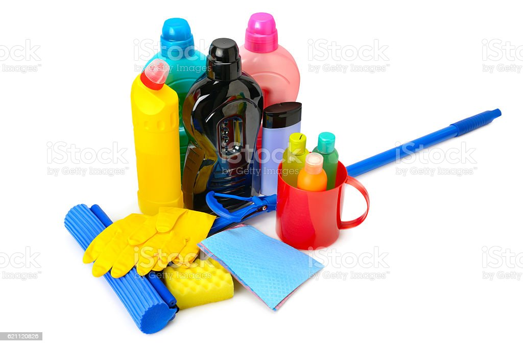 Mops, bottles detergent and rubber gloves stock photo