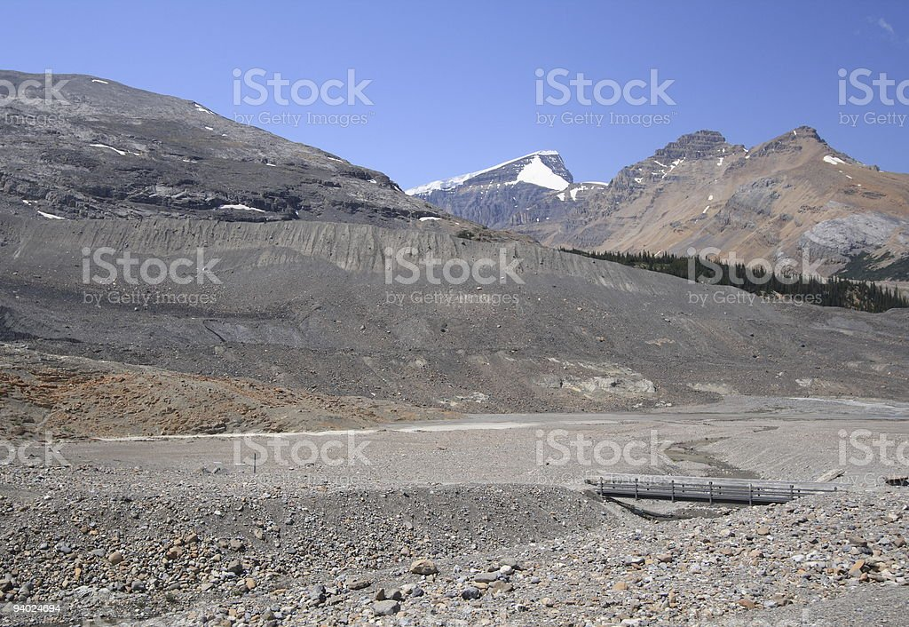 Moraine at Athabasca stock photo