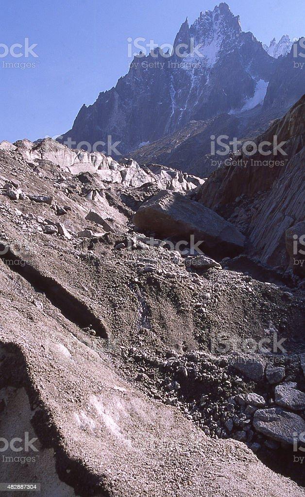 Moraine Glacial Debris Mer de Glace Chamonix Haute Savoie France stock photo