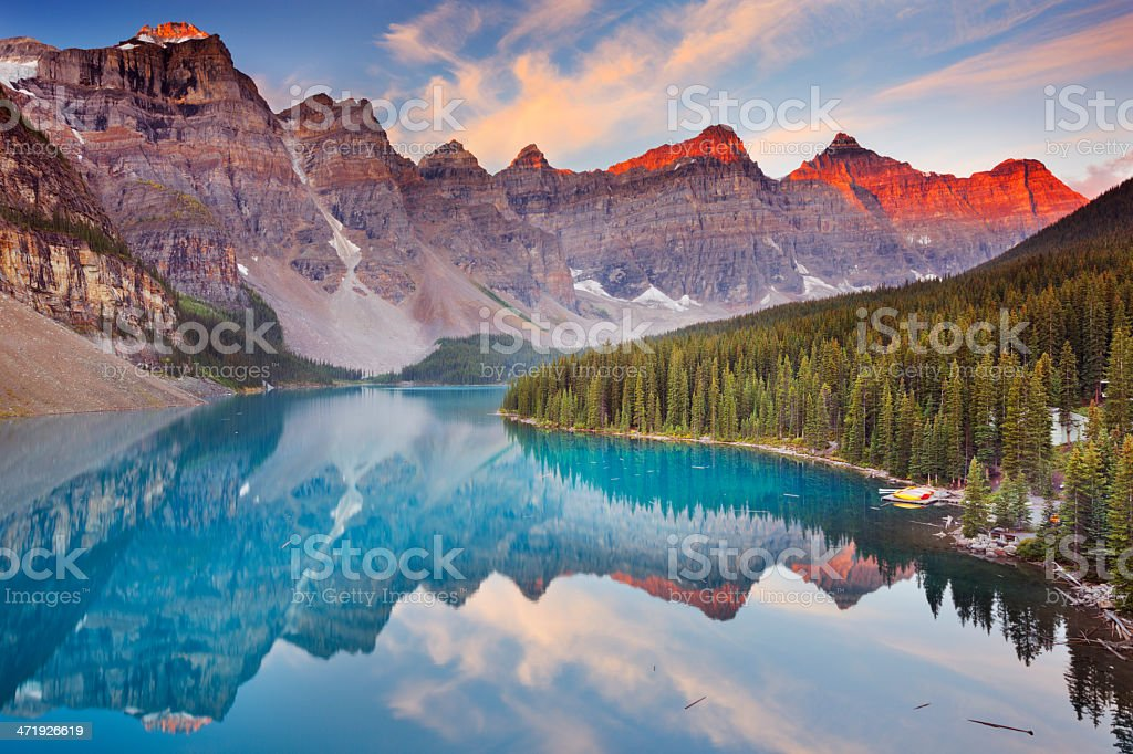 Moraine Lake at sunrise, Banff National Park, Canada stock photo