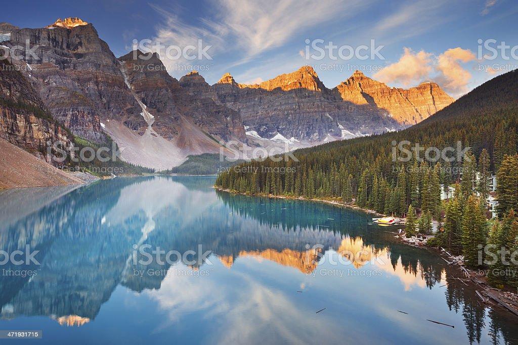 Moraine Lake at sunrise, Banff National Park, Canada stock photo