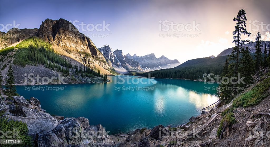 Moraine Lake at Sunset stock photo