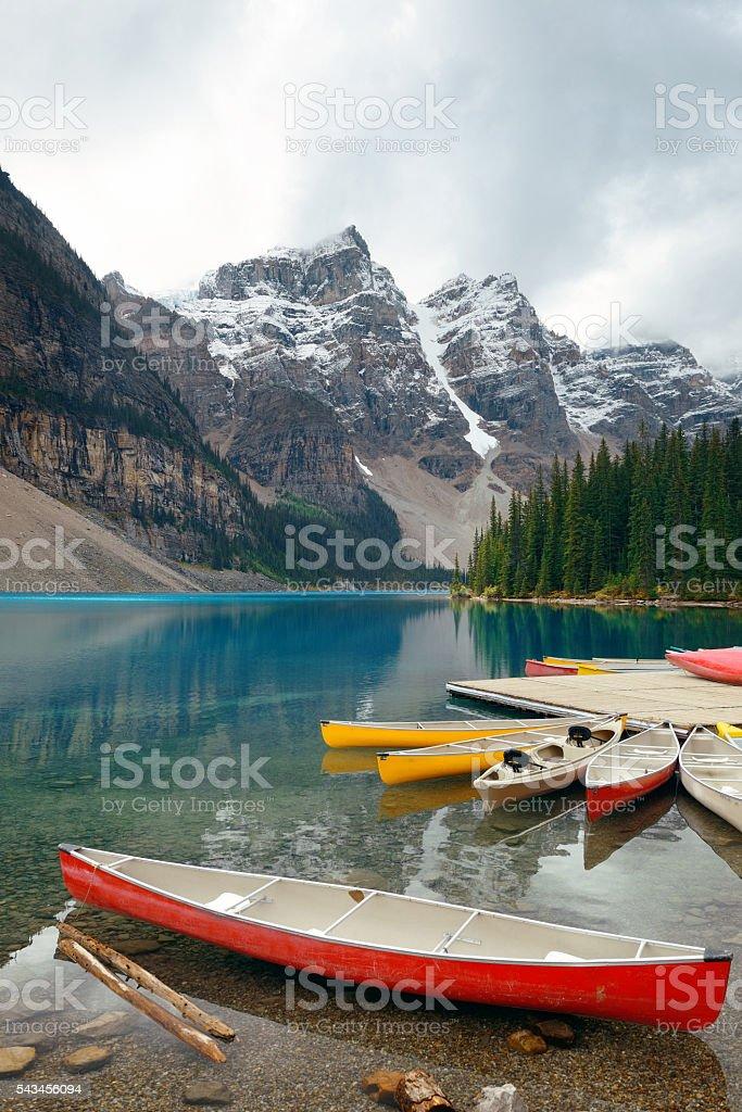 Moraine Lake boat stock photo