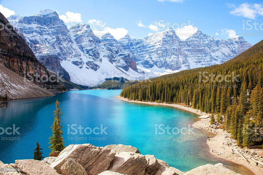 Moraine Lake, Canadian Rockies stock photo