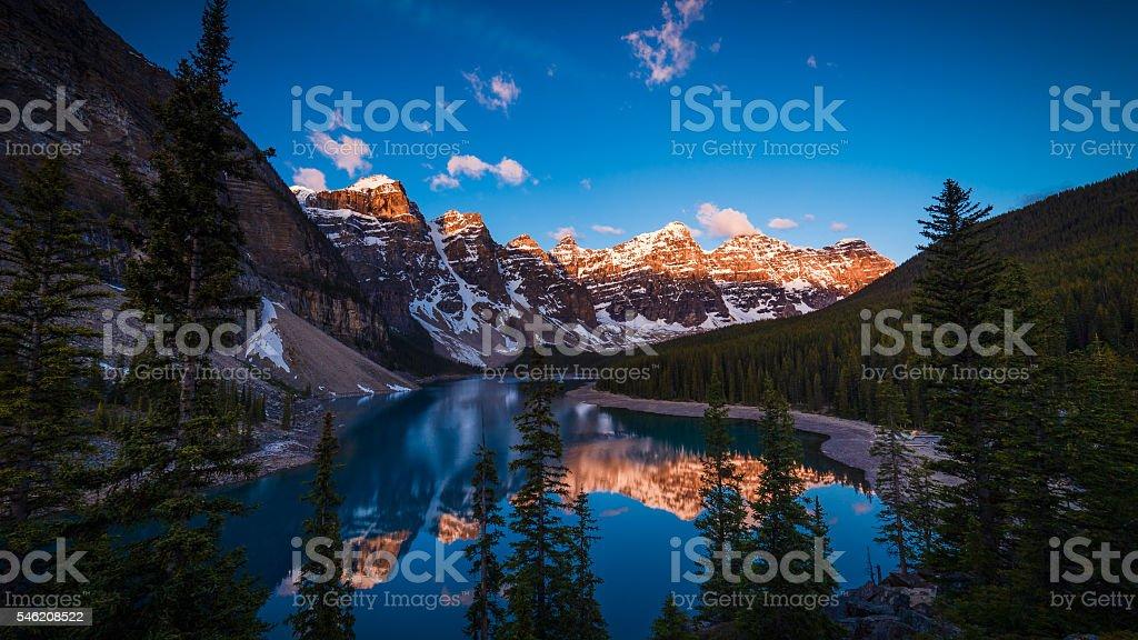 Moraine Lake in Banff, Alberta, Canada stock photo