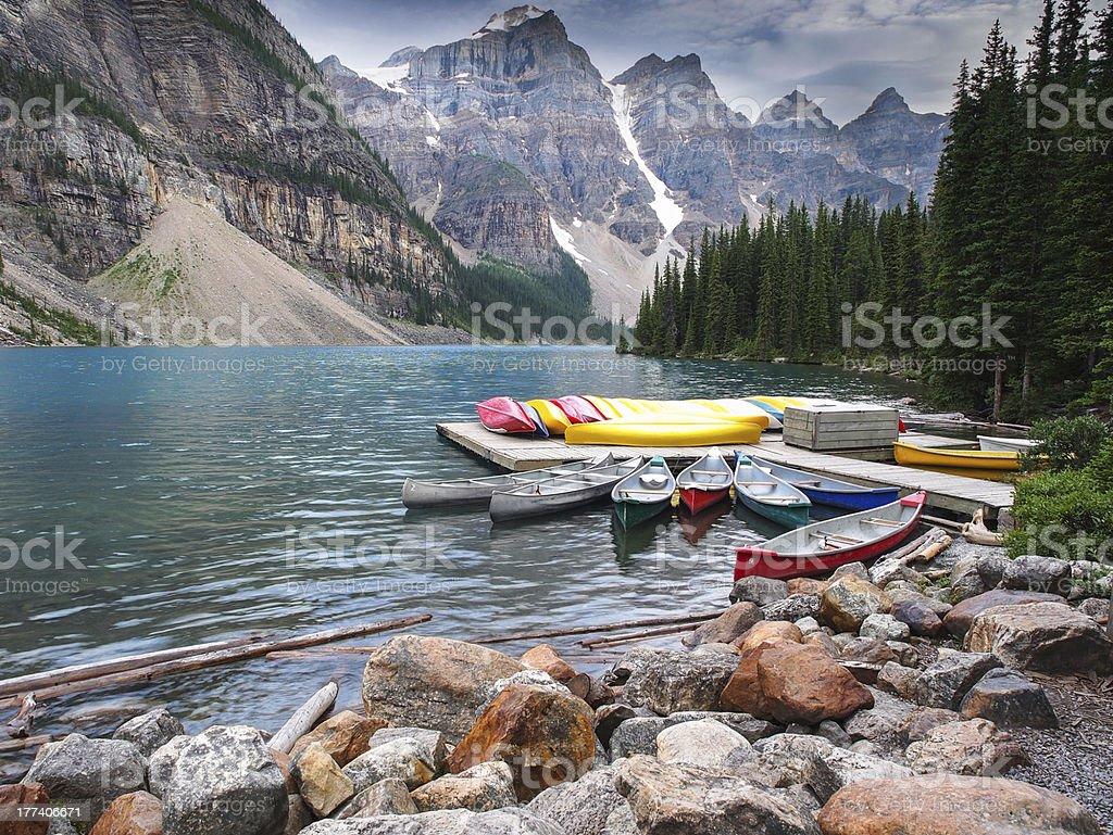 Moraine Lake in Banff National Park,  Alberta stock photo