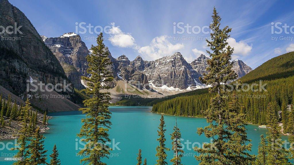 Moraine Lake in Banff National Park stock photo