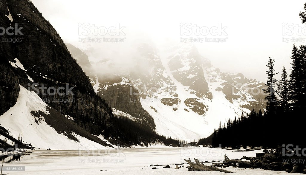 Moraine Lake in Sepia royalty-free stock photo