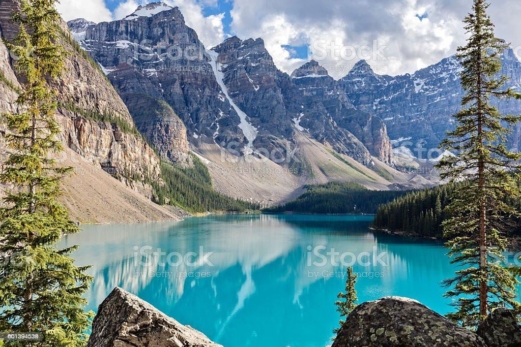 Moraine lake in the Rocky Mountains, Alberta, Canada stock photo