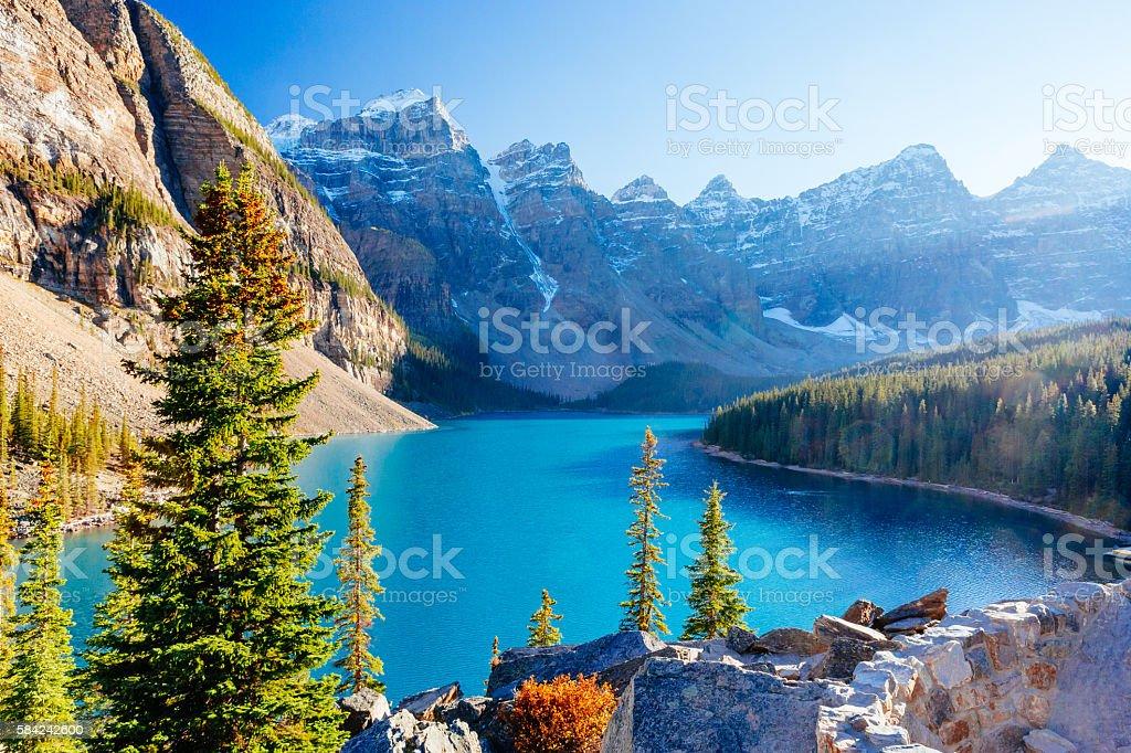 Moraine Lake, Lake Louise, Banff National Park, Alberta, Canada stock photo
