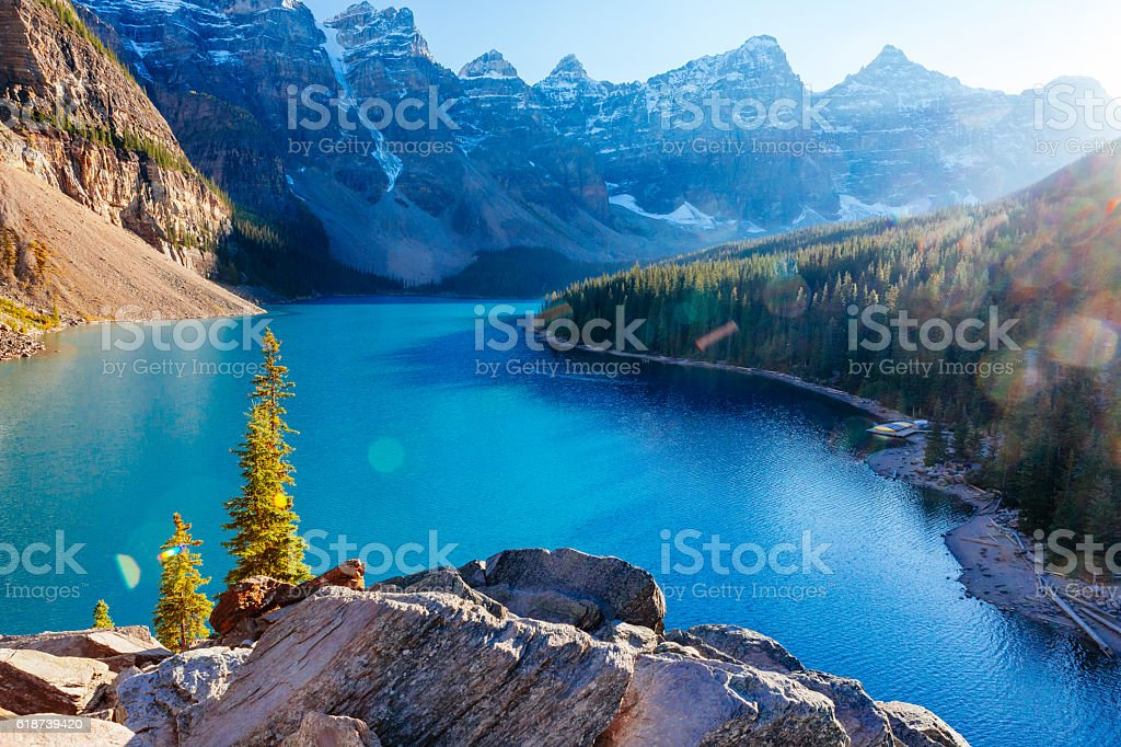 Moraine Lake, Lake Louise, Banff National Park, Alberta, Canada stock photo