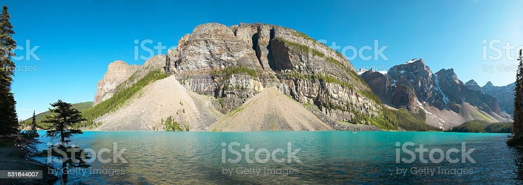 Moraine lake panoramic view. Alberta. Canada stock photo