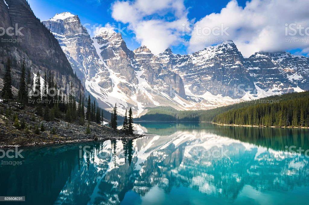 Moraine Lake, Rocky Mountains, Canada stock photo