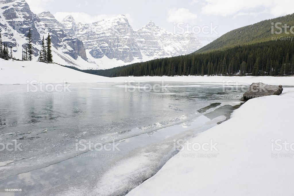 Moraine Lake still frozen at the end of may 2011 royalty-free stock photo