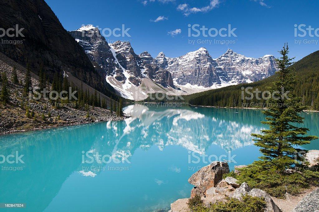 Moraine Lake - summer colours stock photo