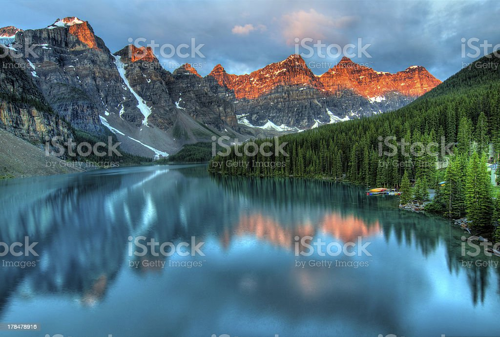 Moraine Lake Sunrise Colorful Landscape stock photo