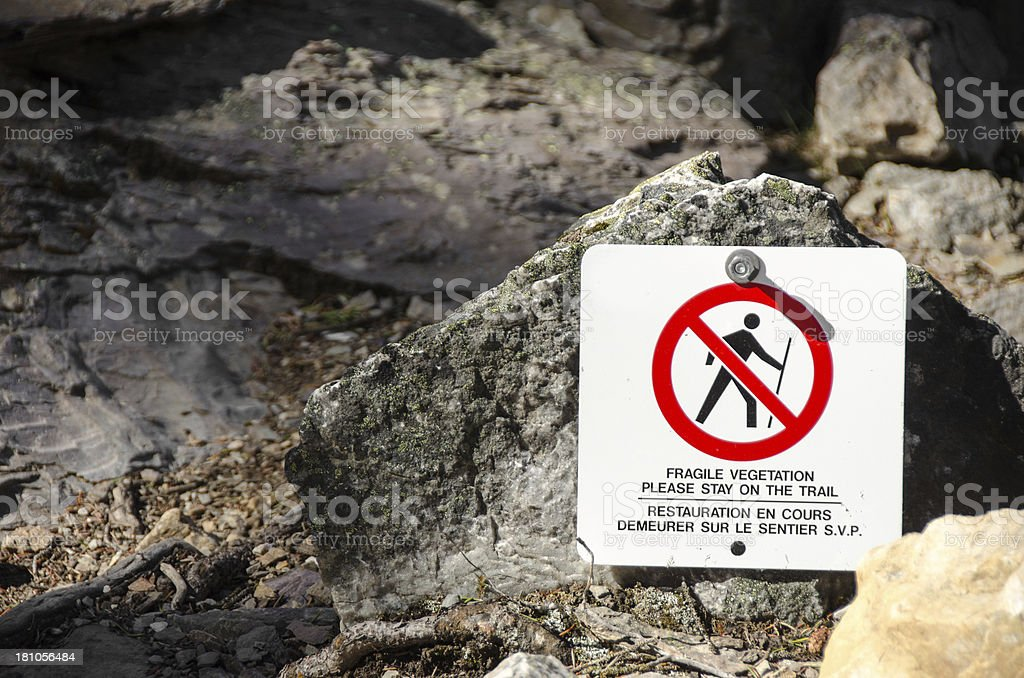 Moraine Lake Trail Sign royalty-free stock photo