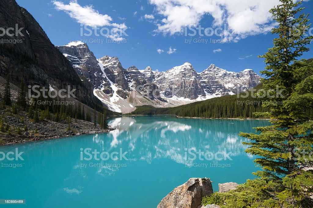 Moraine Lake with faint reflection royalty-free stock photo