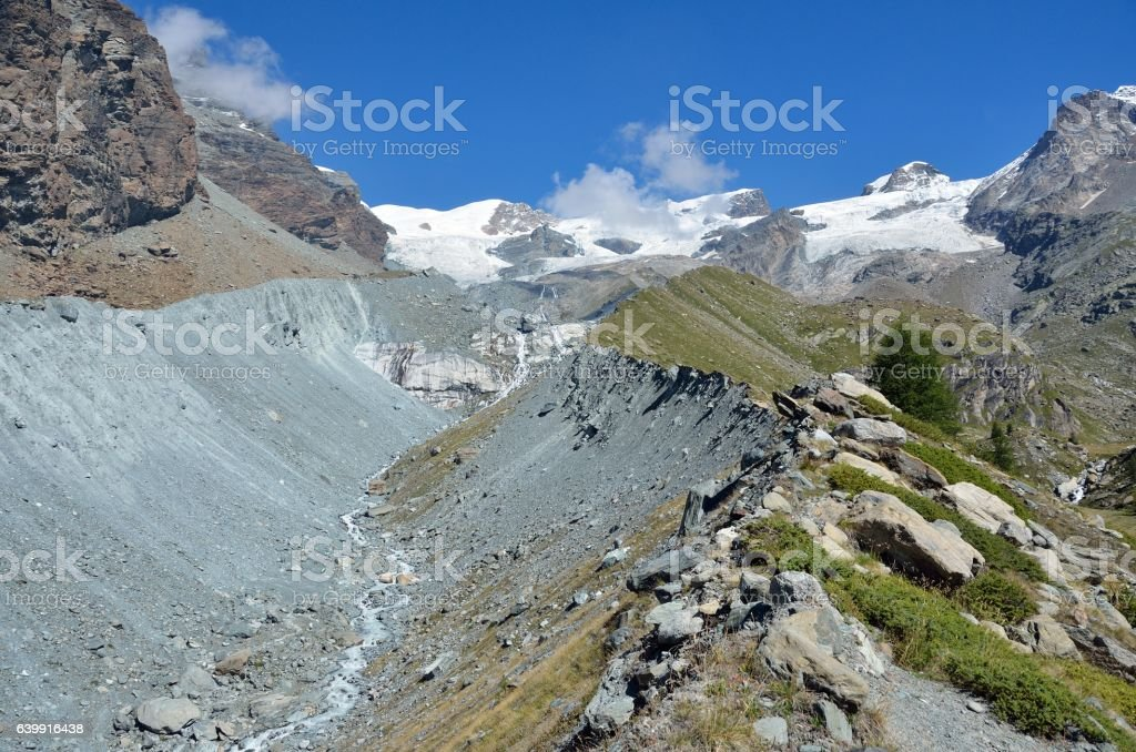 Moraine of the glacier, Aosta Valley, Italy stock photo