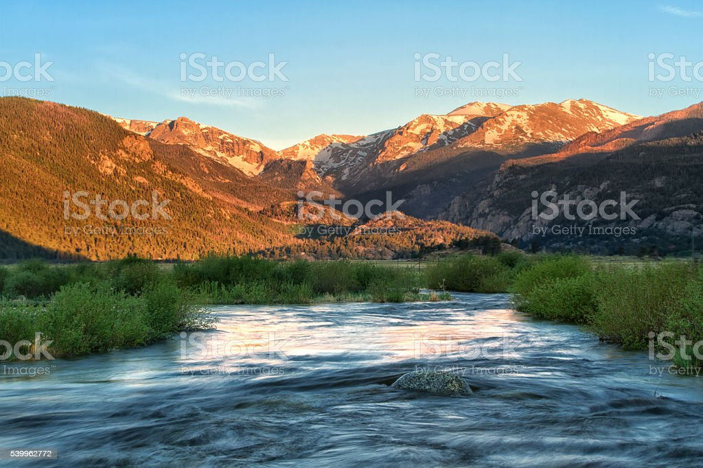 Moraine Park Sunrise in Rocky Mountain National Park stock photo
