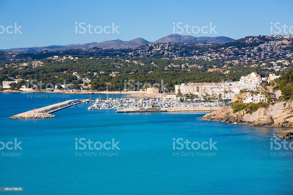Moraira Teulada marina port in Alicante Mediterranean stock photo