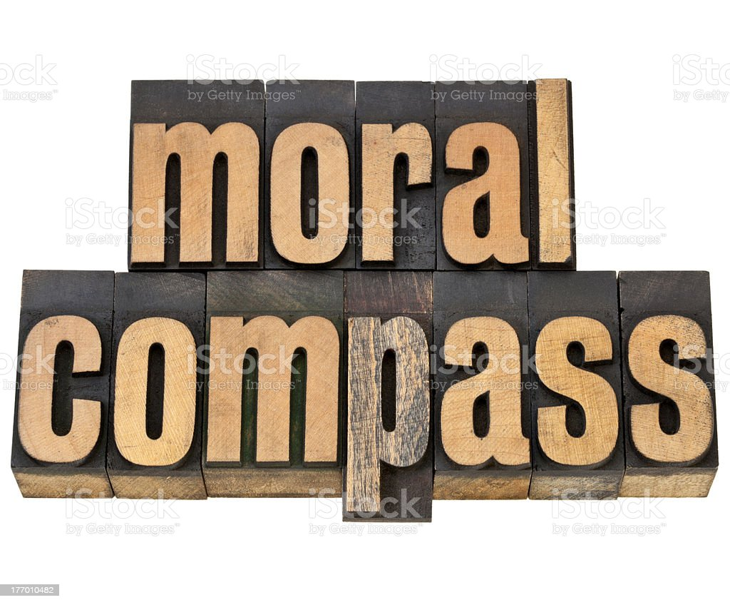moral compass - ethics concept stock photo